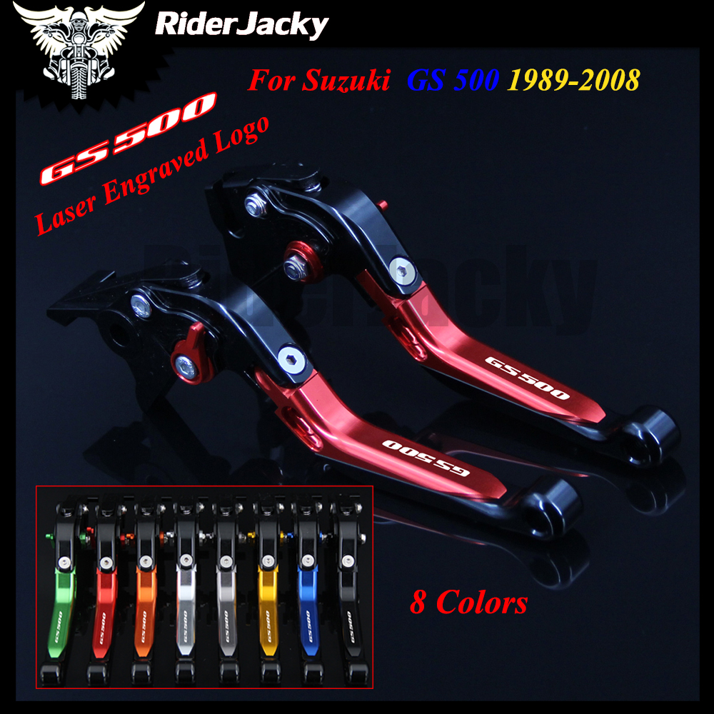 Red+Black Motorcycle Accessories CNC Adjustable Brake Clutch Levers For Suzuki GS 500 1989-2008 2002 2003 2004 2005 2006 2007 6 colors cnc adjustable motorcycle brake clutch levers for yamaha yzf r6 yzfr6 1999 2004 2005 2016 2017 logo yzf r6 lever