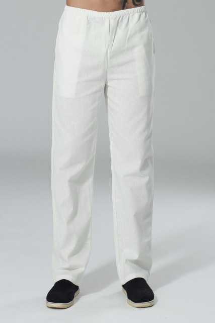 White Traditional Chinese style Men's Cotton Linen Kung Fu Trousers Pants Size S M L XL XXL XXXL P0015