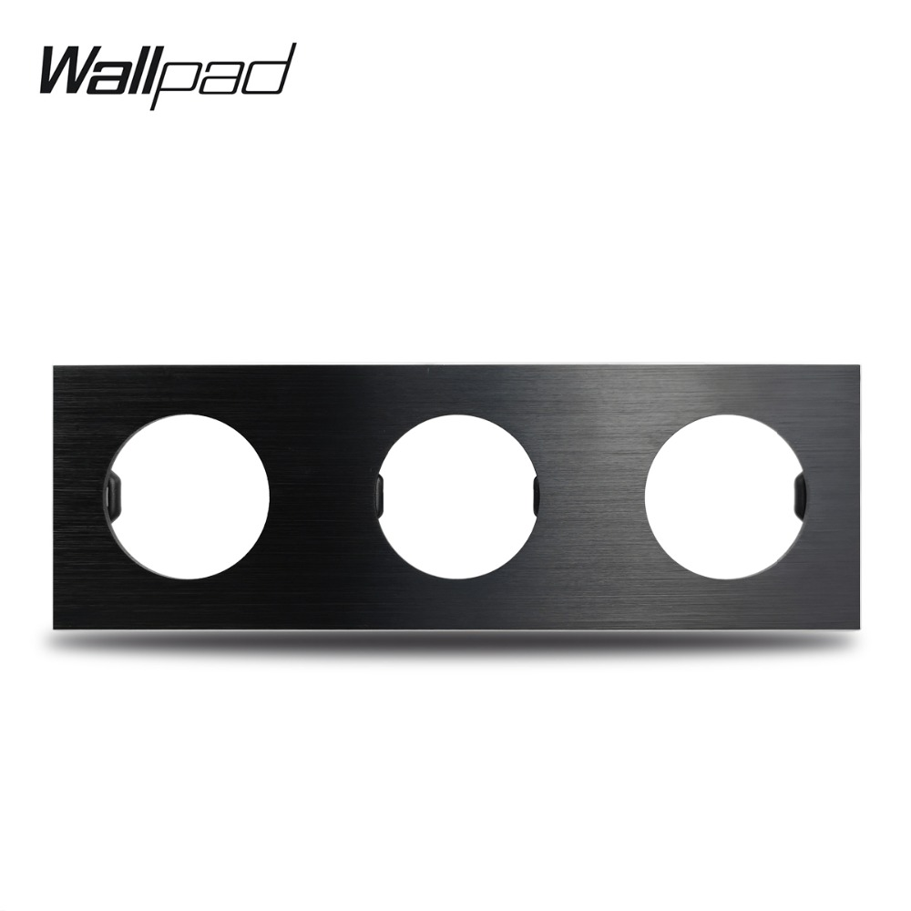 Wallpad L6 DIY Black Triple 3 Gang Frame Brushed Aluminum Metal Plate For Wall Switch Socket Free Combination, 258*86mm