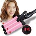 Corea barras tortilla 3 varillas bigudíes rizador de pelo mujeres 2016 automático rizador de pelo herramientas de peinado del cabello rizador eléctrico
