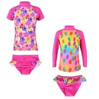 2017 2Pcs Set Short Long Sleeve Floal Print Swimsuits UPF 50 UV Protective Swimwear Flower Sunblock