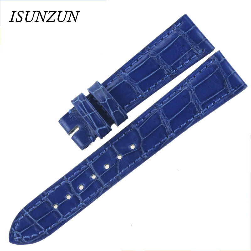 Customized 17mm Royal Blue Watchbands For Patek/Philippe Classic Crocodile/ Alligator Genuine Leather Watch Strap Without Buckle patek philippe sky moon tourbillon в самаре