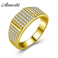 AINUOSHI 10 К твердого желтого золота Для мужчин кольцо SONA алмаз геометрический кластера кольцо обручальное Обручение золотые украшения 5,9 г сва