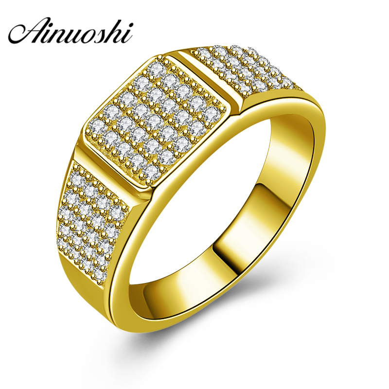 AINUOSHI 10K Solid Yellow Gold Men Ring SONA Diamond Geometric Cluster Ring Wedding Engagement Gold Jewelry 5.9g Wedding Band
