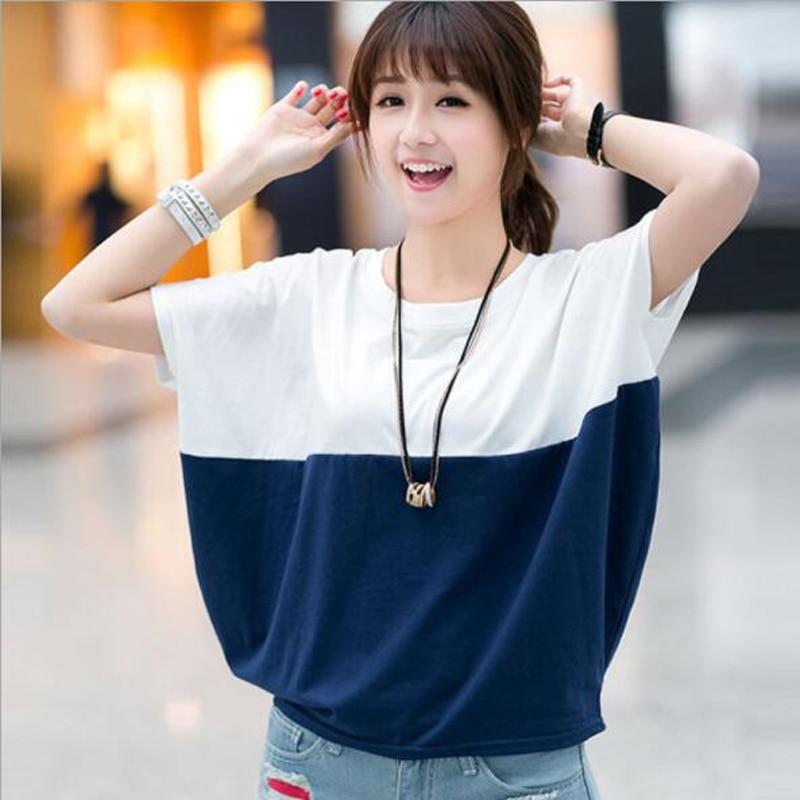 New Fashion Women   T     shirt   Patchwork Color O Neck Loose Cotton Woman Tshirt Top Summer Short Sleeve Camisetas Feminina