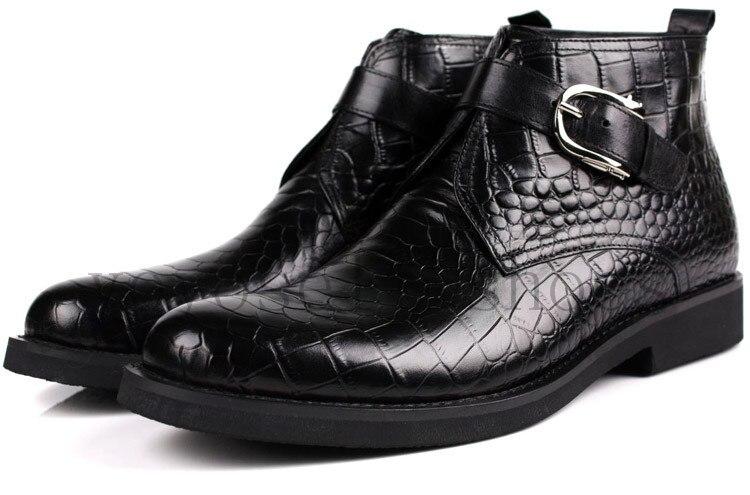 Tobillo Vestir Zapatos Botas Con Cuero Cocodrilo Grano Black Hebilla Hombre Genuino Cuero Negro para tan De XYPqv4