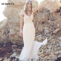 Chiffon Beach Wedding Dresses Sexy V Neck Beaded Lace Cap Sleeve Bohemian Bridal Dresses Backless Vestidos