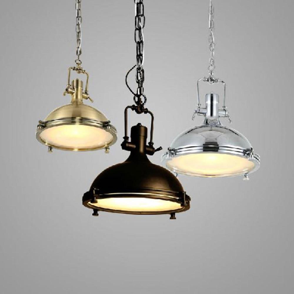 large heavy lustres industrial lighting vintage metal warehouse pendant lamp black chrome gold. Black Bedroom Furniture Sets. Home Design Ideas