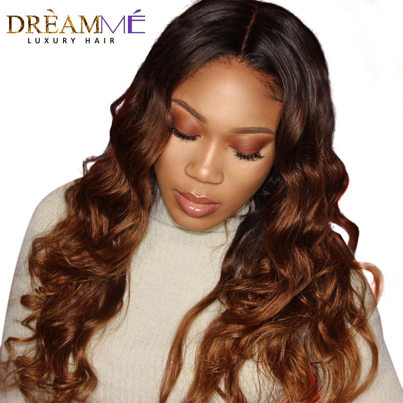1B 30 Ombre Color lace Front Wigs Pre Plucked Body Wave Remy Hair Brazilian Human Hair