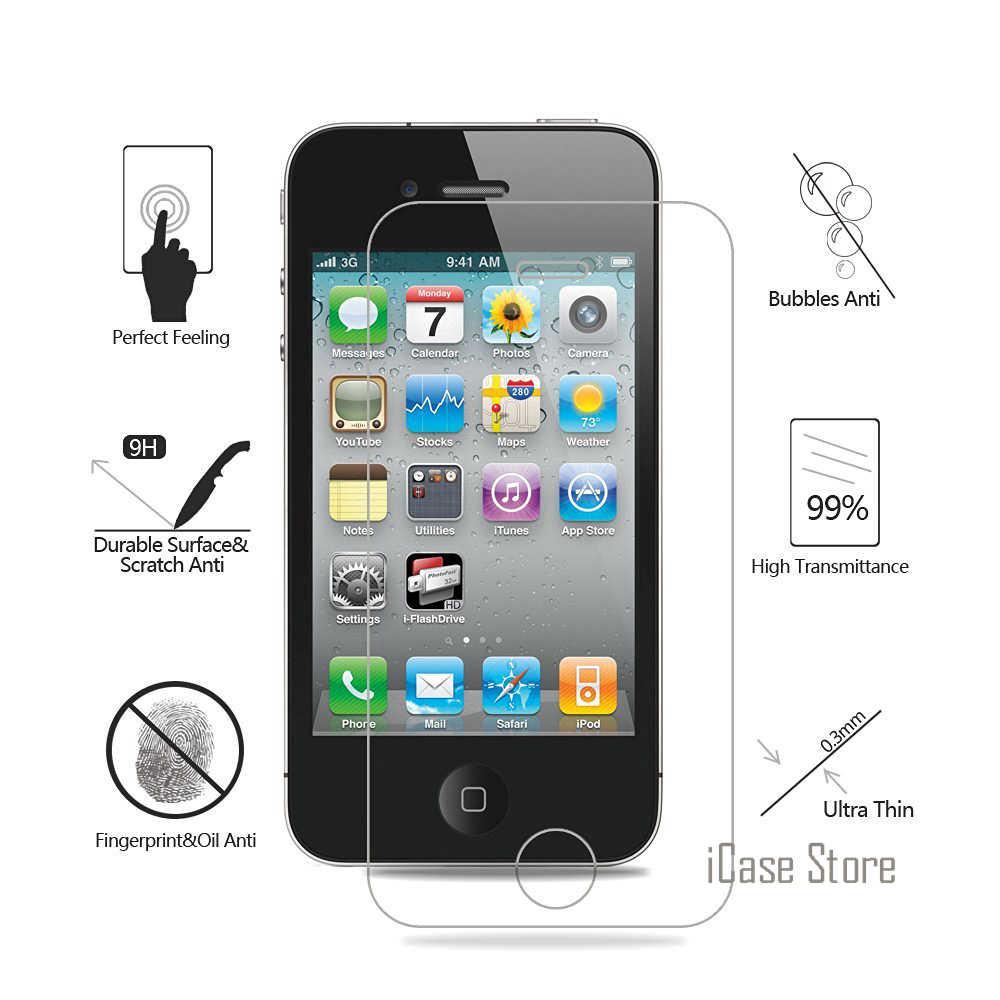 กระจกนิรภัยสำหรับ iphone 4 4S 5 5S 5c SE 8 6 7 plus Vidrio templado pantalla del telefono celular สำหรับ iphone