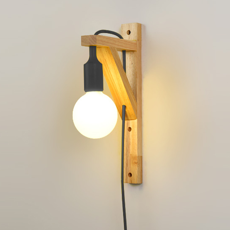 Us 45 0 25 Off Bedside Wall Mounted Sconce Lights For Corridor Bedrooms Wood Solid Modern Wooden Lamp In