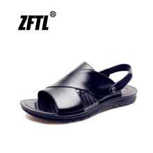 ZFTL New men beach sandals man large size casual slippers male genuine leather leisure non-slip comfortable summer  071