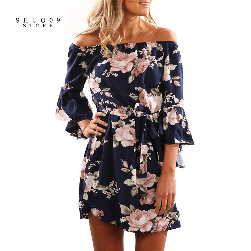 2018 New Fashion Summer Floral Slash Neck Dress Women Elegant Loose Dress with Belt