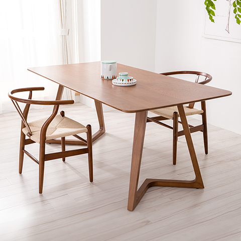 100% Pure Solid Wood Dining Tables And Chairs Walnut Color Combination 1.8M Scandinavian  Furniture