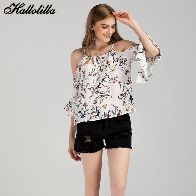 3369fa341 Hallolilla Chiffon Blouse Women 2018 New Summer Women Blouse Shirt Sexy  Loose Casual Tops Tee Female Tops Ladies Clothing