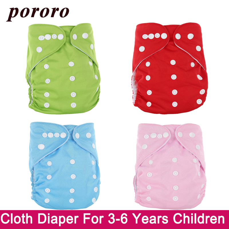 3-6 Years Children Reusable Diaper Solid PUL Cover With Inserts Wrap Fralda Suede Cloth Adjustable More Than 15KG Kids Diapers