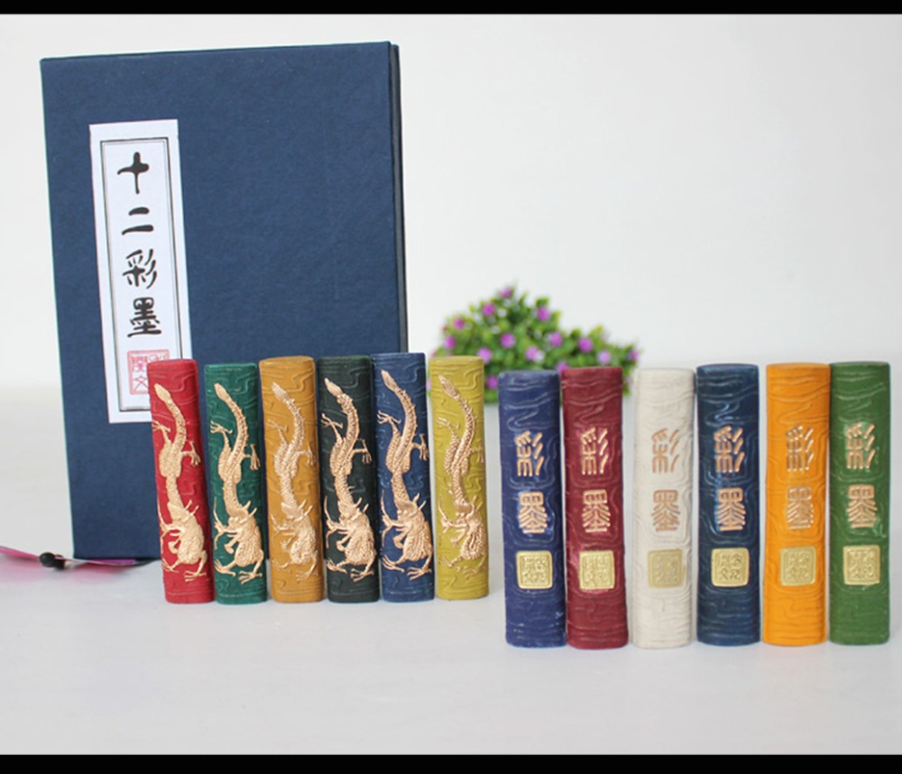12 pièces/ensemble encre chinoise bâton peinture hukaiwen calligraphie brosse Inker Dragon conception eau couleur peinture approvisionnement-in Aquarelle from Fournitures scolaires et de bureau on AliExpress - 11.11_Double 11_Singles' Day 1