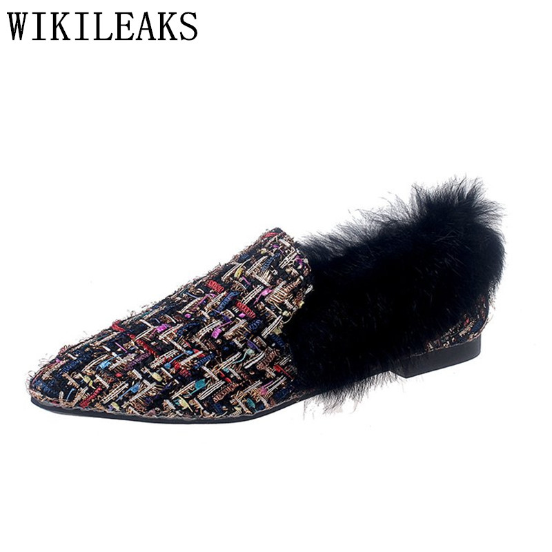 designer women shoes famous brand pointed toe flat shoes women fur slip on loafers zapatillas mujer casual ladies shoes black new designer women fur flats luxury brand slip on loafers zapatillas mujer casual ladies shoes pointed toe sapato feminino black