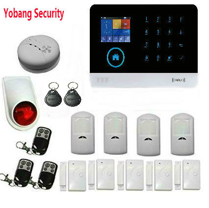 YobangSecurity RFID Function Wireless Wifi Gsm GPRS Home Security System WiFi Burglar Alarm Wireless Siren Smoke Door Sensor yobangsecurity touch keypad wifi gsm gprs home security voice burglar alarm ip camera smoke detector door pir motion sensor