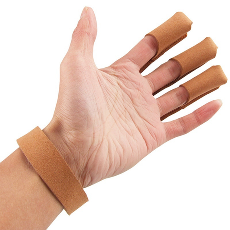 Archery Protect Glove 3 Fingers Pull Bow arrow Leather Shooting Gloves DI