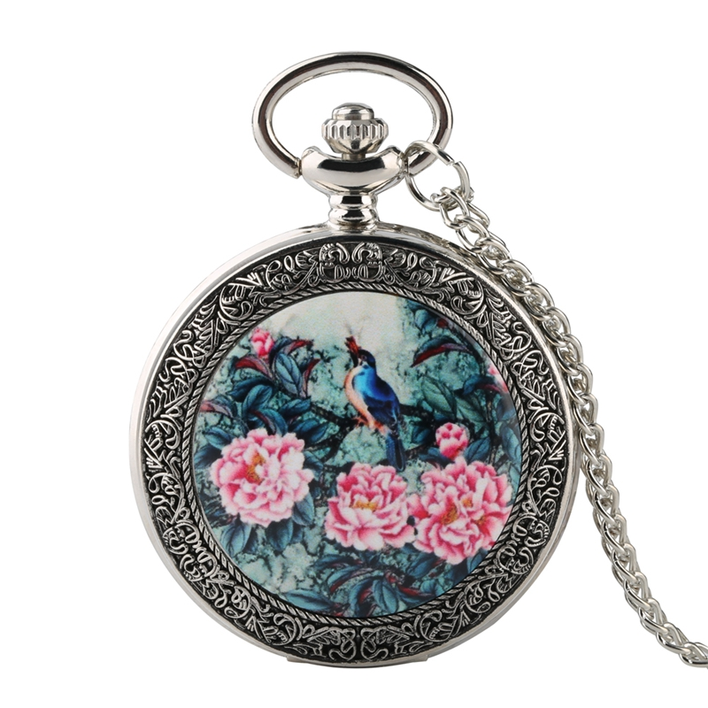 Top Luxury Silver Quartz Pocket Watch Vivid Bird On The Tree With Exquisite Flowers Patterns Necklace Pendant Gifts Chain Watch