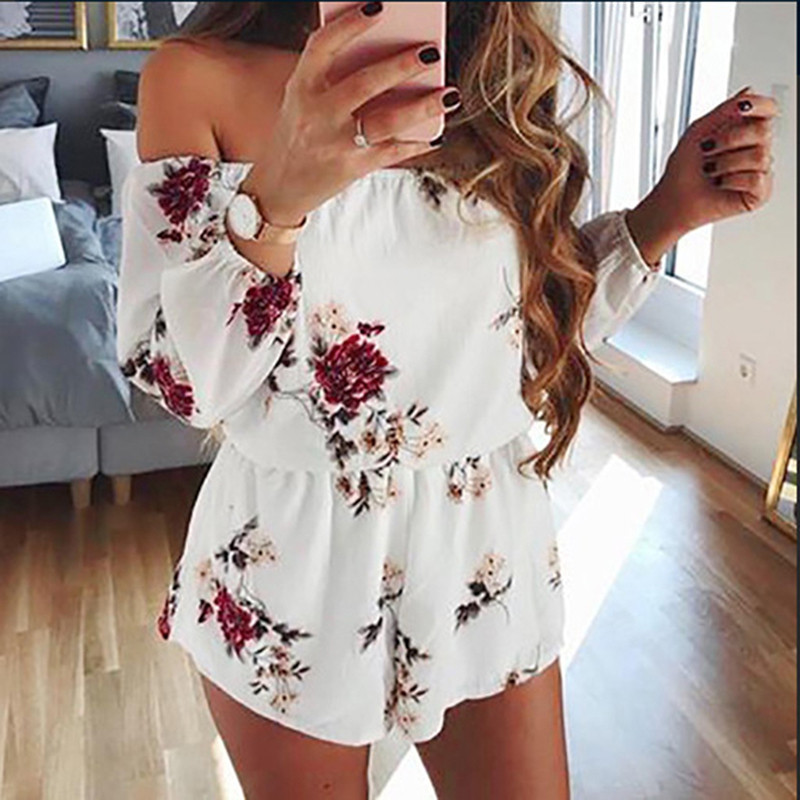 Women Boho Style White Chiffon Floral Print Slash Neck Collar Long Sleeve Sweet Playsuits Short Female Beach Party Overalls