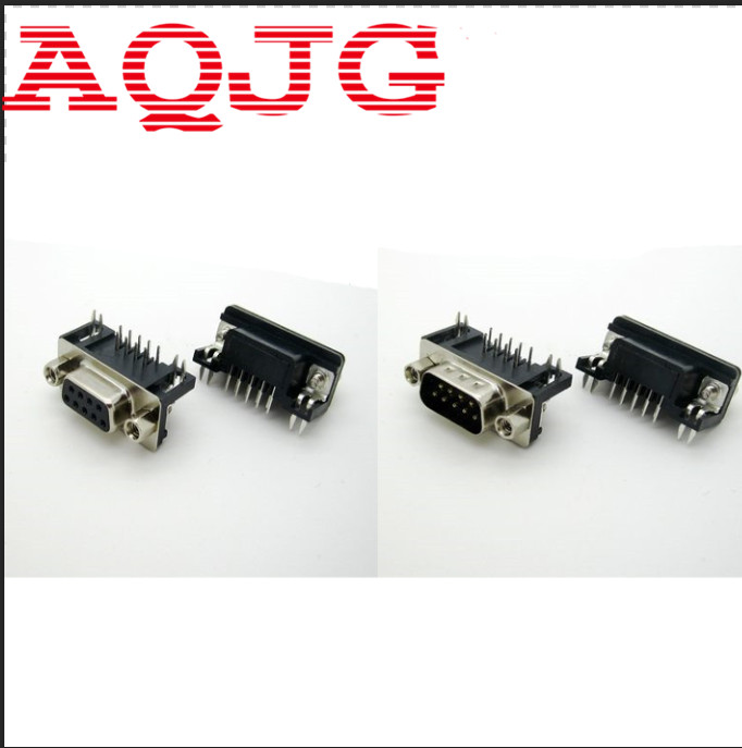 DB9 Male Female PCB Mount D-Sub 9 pin PCB Connector RS232 Connector 90 Degree 10pcs Wholesale AQJG 2pcs pcb panel mount midi female din5 din 5 pin jack d501