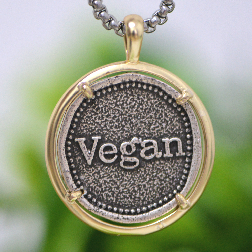 Vegan Necklace Boyfriend Gift Vegan Activist Pendant Herbivore Awareness Vegetarian Lifestyle Animal Liberation Jewelry A283