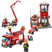 Building Blocks  City fire fighting truck fingure bricks Educational Toys For Children gift8052 недорого