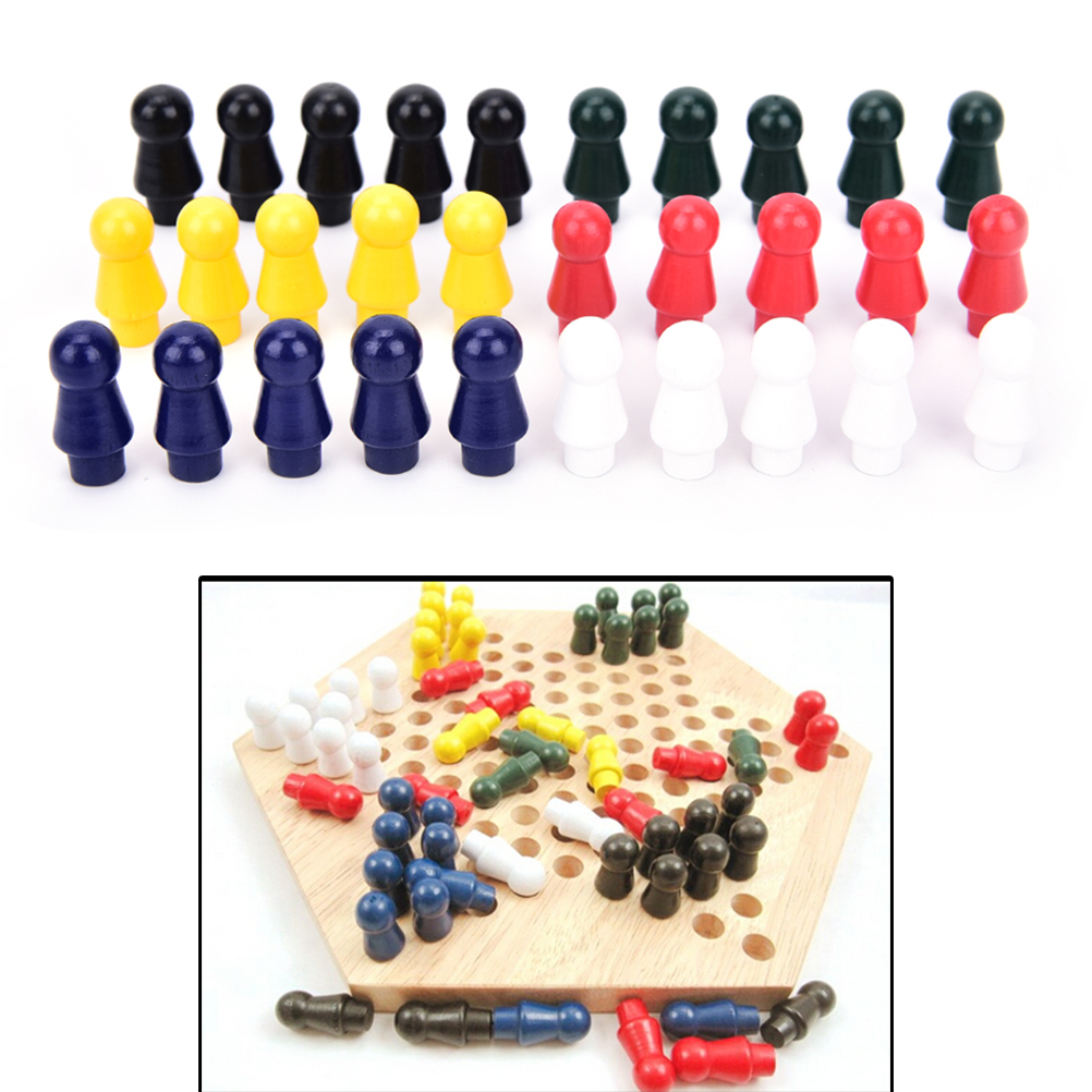60pcs/set Chinese Checkers Six Color Of Wooden Checkers Replacement Game Parts Hot Sale