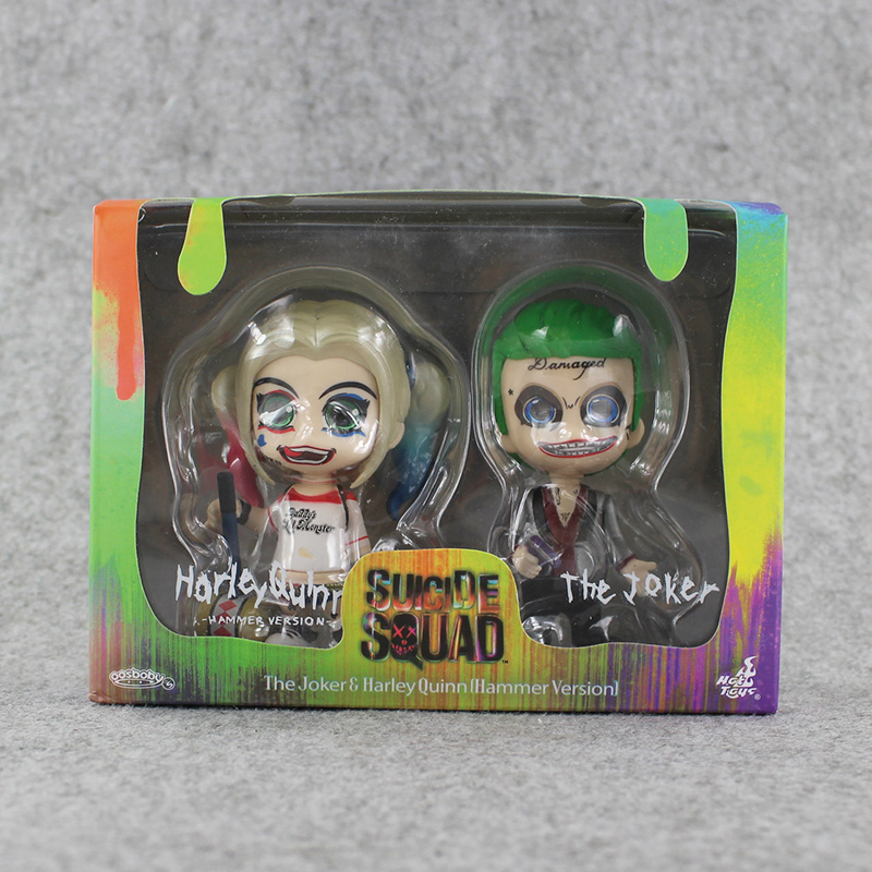2pcs lot Hot movie Suicide Squad Harley Quinn Joker PVC figure font b toy b font