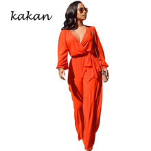 Kakan spring new womens jumpsuit sexy street hipsters casual loose with belt