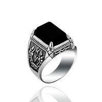 KJJEAXCMY fine jewelry S925 sterling silver jewelry taiyin black agate ring set with four claws male style