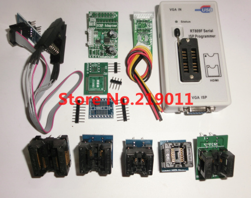 Image 2 - RT809F LCD ISP programmer with 8 adapters +sop8 test clip + ICSP board /ISP cable-in Integrated Circuits from Electronic Components & Supplies