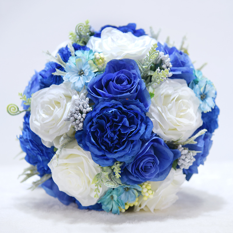 JaneVini 2018 New Royal Blue Flowers Silk Wedding Bouquet for Brides Artificial Rose Crystal Bridal Bouquet Holder Blumenstrauss