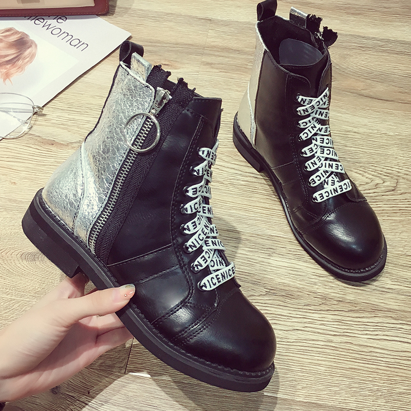 b632d3cb1a Flats Negro Sapatos Casual Zip Botas Ankle Moxxy Punk Mulheres Inverno  Borracha Bling De Boots Mulher ...