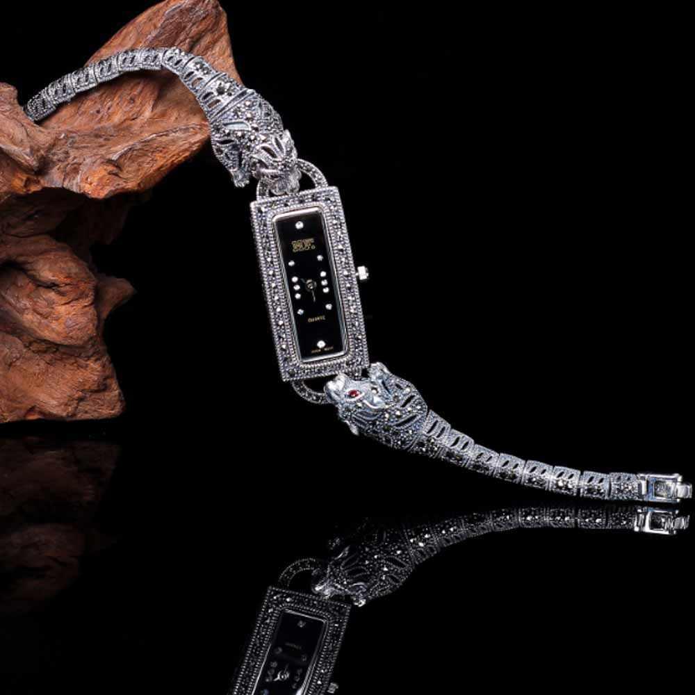 หยกเทวดานาฬิกาข้อมือสตรีเสือดาว Pave Marcasite สีดำ 925 เงินสร้อยข้อมือ Vintage ของขวัญวันขอบคุณพระเจ้าของขวัญวันแม่