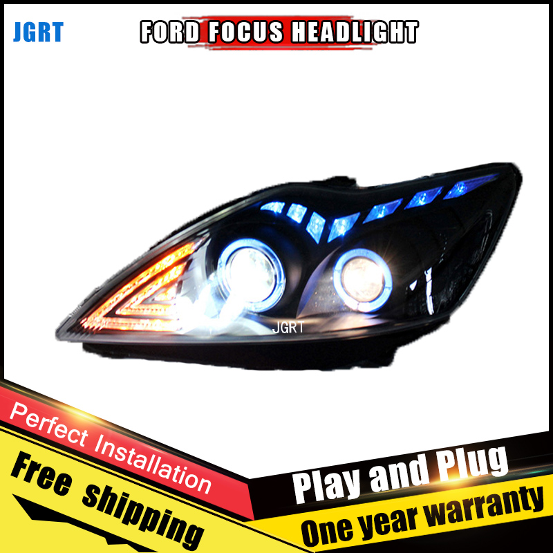 Car Style LED headlights for Ford Focus 2009-2012 for Focus head lamp LED DRL Lens Double Beam H7 HID Xenon bi xenon lens for volkswagen polo mk5 vento cross polo led head lamp headlights 2010 2014 year r8 style sn