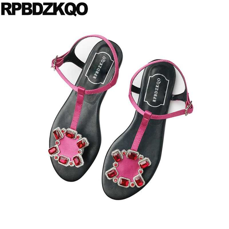 a20bccbd2350d Rhinestone Designer Sandals Women Luxury 2017 Jewel Embellished T Strap  Shoes Diamond Thong Flat Famous Brand