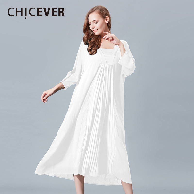 CHICEVER Spring Patchwork Pleated Women Dress Long Sleeve Loose Big Size Pullovers Black Dresses Female Clothes Fashion Vestidos