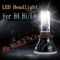 New Upgraded Super Bright H4 Hi Lo Beam 80W All Sides COB LED Headlight Coversion Kit