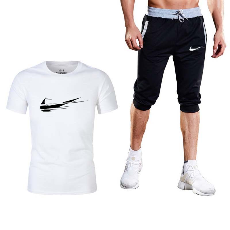 2019 Men's Suit Brand Sportswear New Men's T-shirt + Shorts Men's Leisure Short Sleeve T-shirt Men's Summer Leisure Shorts