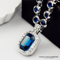 High Quality FREE SHIPPING 18K Platinum Plated Austrian Ocean Blue Sapphire Rectangle Crystal Wedding Necklace Wholesale