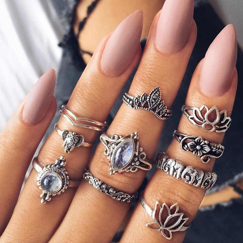 10pcs/lot Vintage Punk Ring Set Antique Silver Color Leaf midi Rings Women Boho Beach Jewelry Natural Opal Stone Gift