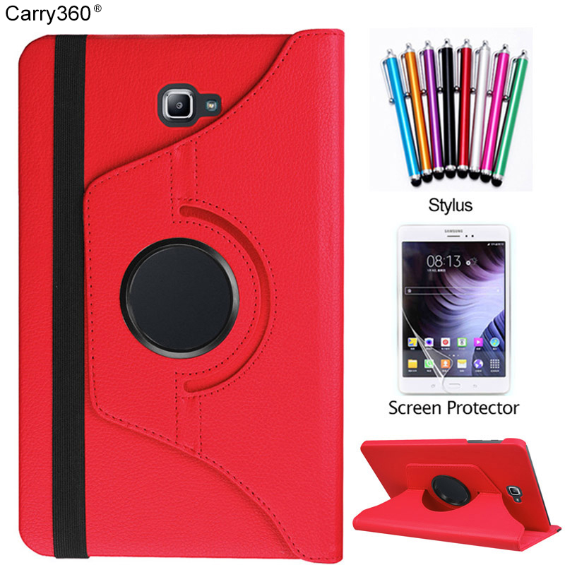Carry360 360 Rotating PU Leather Stand Case Cover For Samsung Galaxy Tab A 10.1 2016 T580 T585 Tablet Funda Cases+StylusPen 100pcs lot luxury 360 degrees rotating stand pu leather flip case cover for samsung galaxy tab a 10 1 t580 android tablet t580