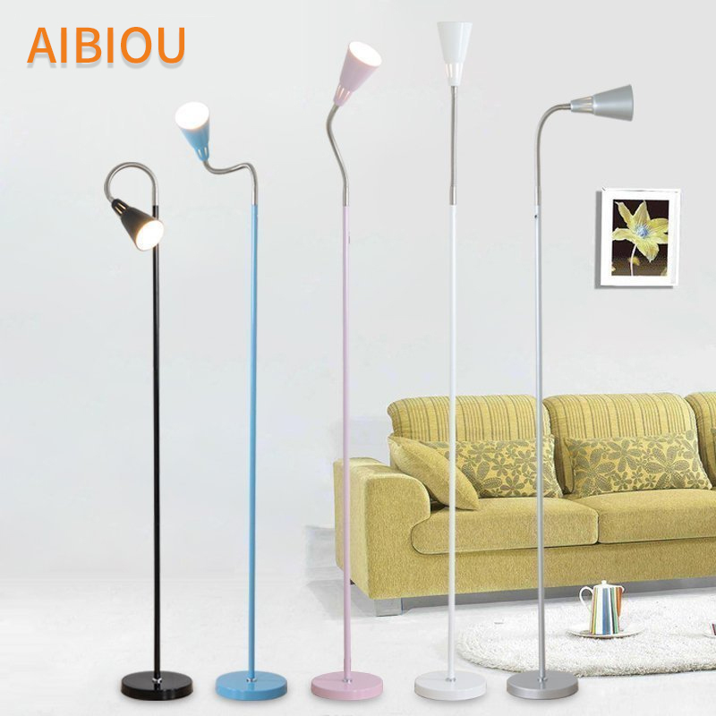 AIBIOU Ajustable LED Simple Floor Lamps For Living Room Practical Standing Lamp Colorful Floor Lights Indoor Luminaire modern wood table floor lamp living room bedroom study standing lamps fabric decor home lights wooden floor standing lights