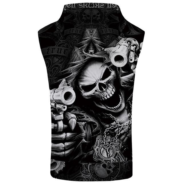 KYKU Brand Skull Sleeveless Hoodie Hip Hop Coat Punk Shirt Rock Bodybuilding Gun Sweatshirt Vest Mens Clothing Men 3d Print