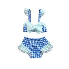 2 Pcs Kid Infant Baby Girls Plaid Swimwear Bowknot Swimsuit Bathing Suit Costume Beachwear 0-5T Clothing