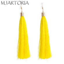 MJARTORIA Long Tassel Earrings For Women Fashion Jewelry Simple Geometric Plating Fringed Tiny Alloy Earring Female Jewellery(China)