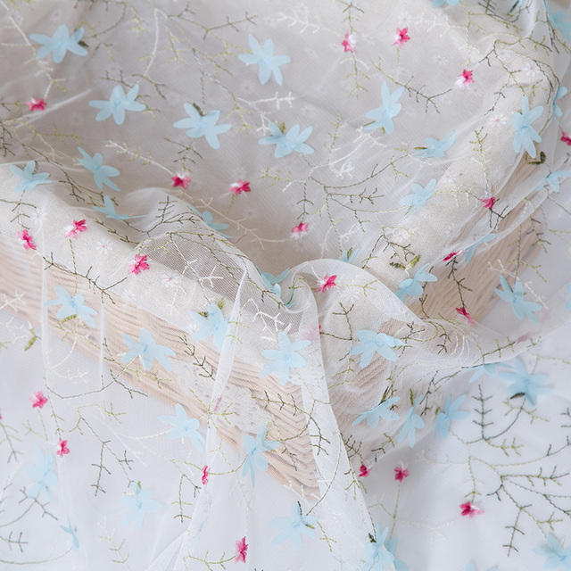 Small broken flower rural wind Yarn embroidery lace fabric net Snow spinning diy dress fabric